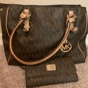Brown Signature Michael Kors Handbag w/ wallet